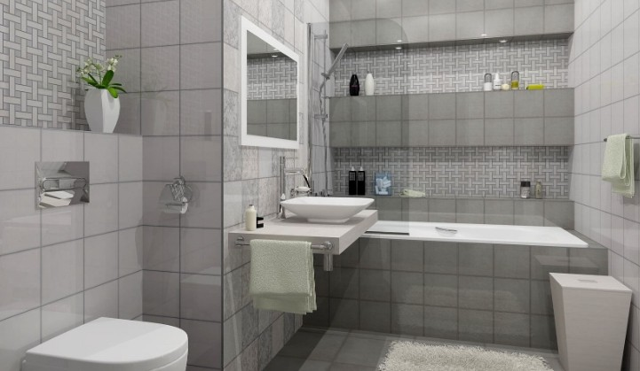 белая и серая плитка в ванной