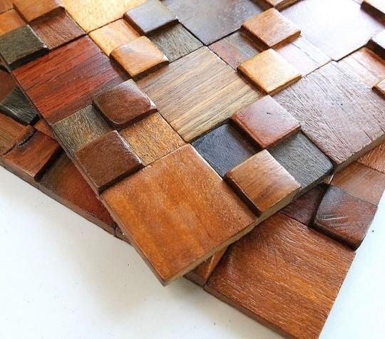 Деревянная мозаика на бумаге