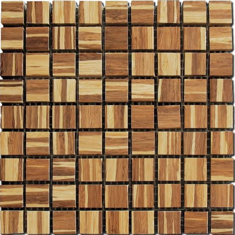 Деревянная мозаика на сетке